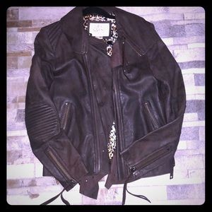 ⚡️Like New Brown Leather Sara Berman Moto Jacket M